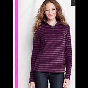 Lands' End purple striped zip up fleece